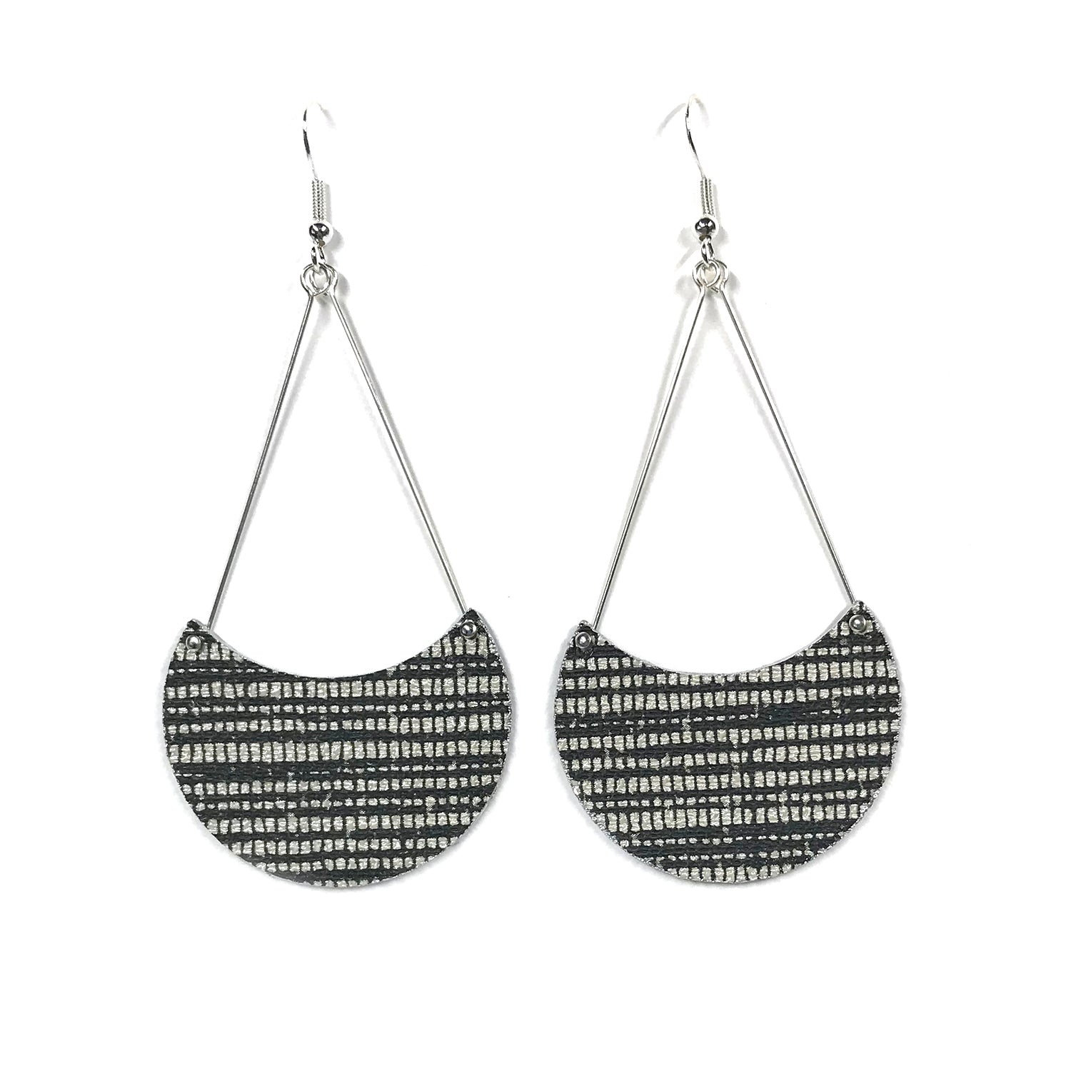 Gracie Nicole Sophisticated Black and White Crescent Moon Designer Wallpaper Earrings