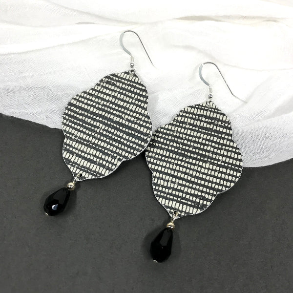 Lightweight Statement Earrings Sophisticated Black and White Quatrefoil Designer Wallpaper Earrings