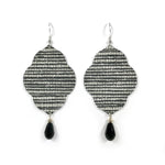 Load image into Gallery viewer, Lightweight Statement Earrings Sophisticated Black and White Quatrefoil Designer Wallpaper Earrings