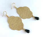 Load image into Gallery viewer, Lightweight Statement Earrings in Gold Wallpaper with Black Stone Dangles