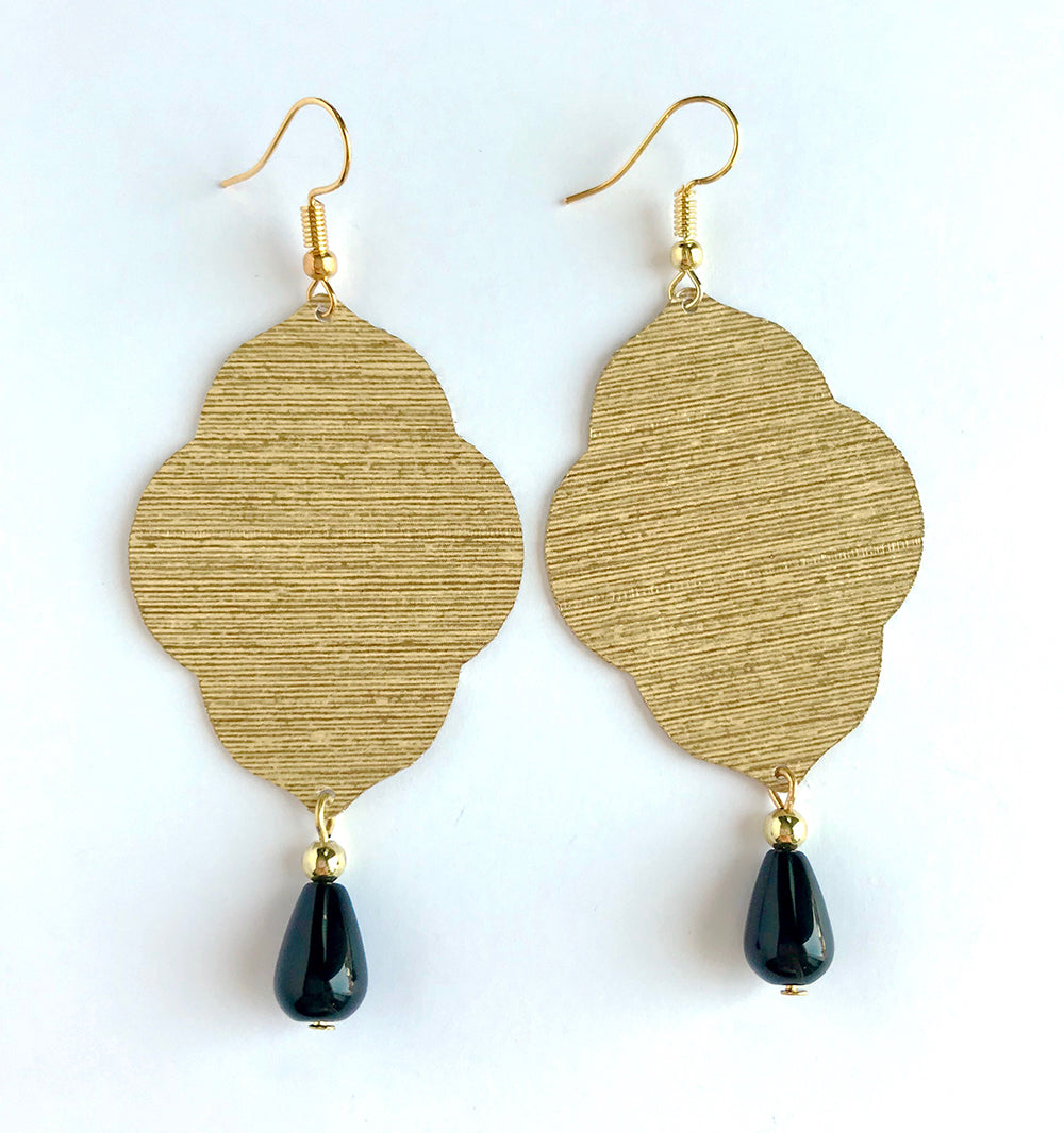 Lightweight Statement Earrings in Gold Wallpaper with Black Stone Dangles