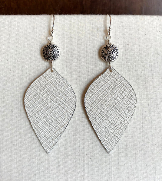 Textured Leaf Earrings with Sun Bead Accent