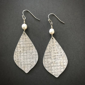 Gracie Nicole Elegantly Upcycled wallpaper Jewelry - Edgy, Elegant Statement Earrings with Freshwater Pearl Accent