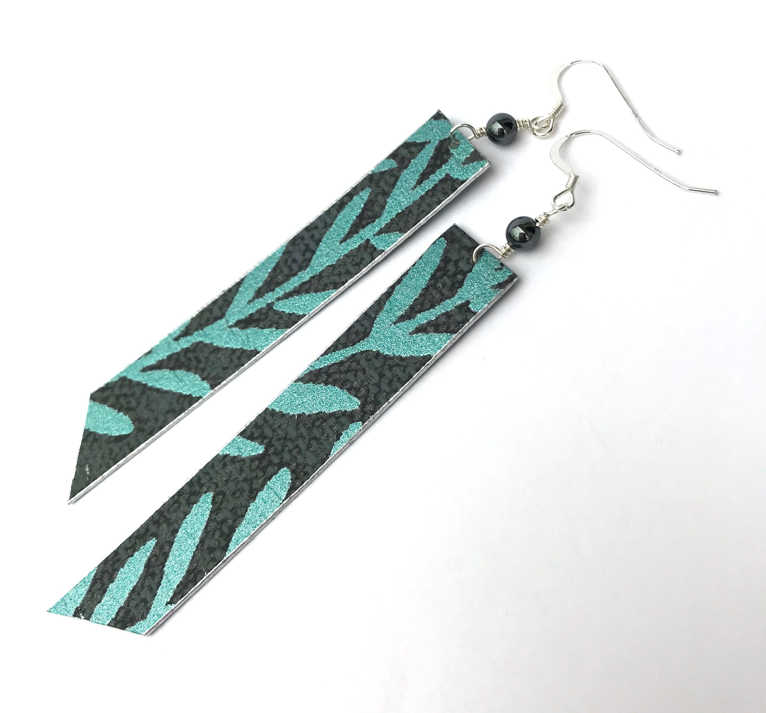 One-of-a-Kind Lightweight Statement Earrings in Charcoal Grey and Metallic Green Leaf Print