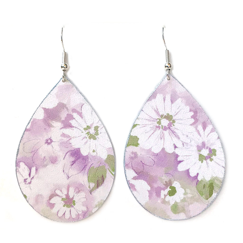 Gracie Nicole Handmade Jewelry Pretty Lavender Floral Teardrop Earrings