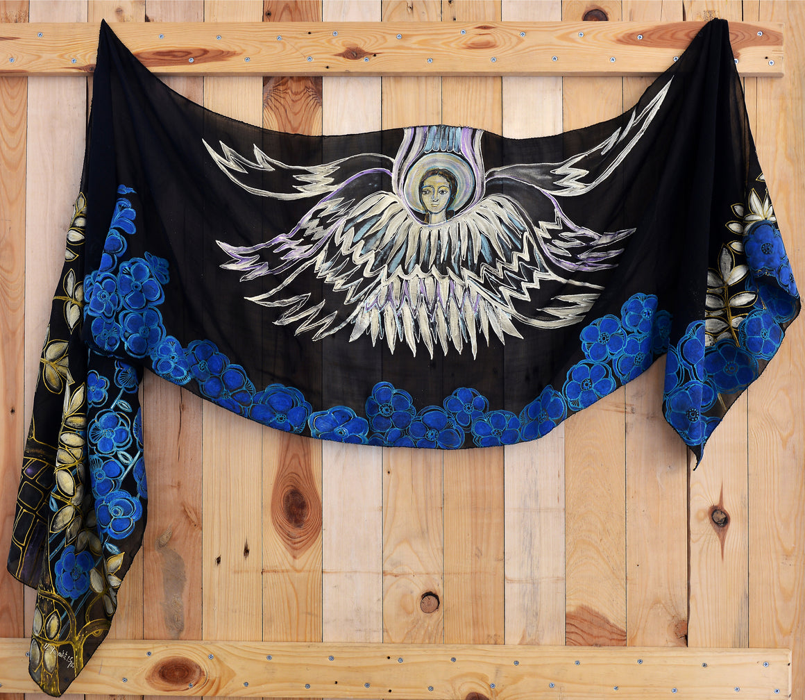 "SCARF ""GUARDIAN ANGEL IN BLUE FLOWERS"" - HANDMADE ARMENIA INC."