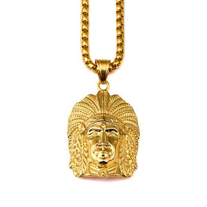18k Gold Native American Chief Pendant (witch chain)-Pendant--Capital Bling