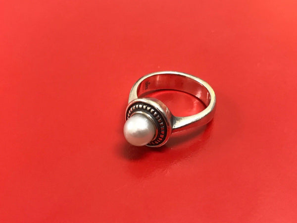 JAMES AVERY STERLING SILVER VINTAGE CULTURED PEARL RING SIZE 5