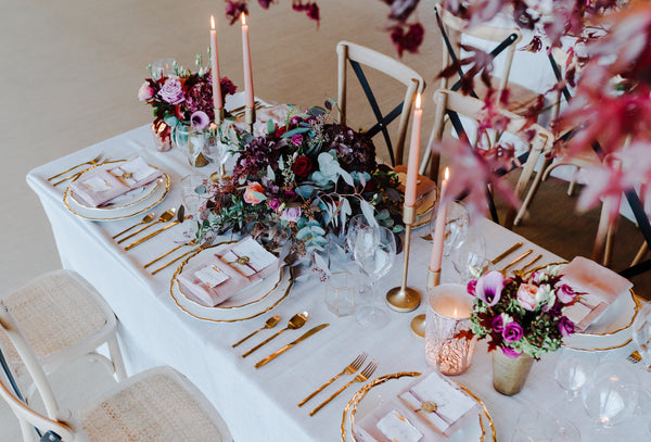 Gold cutlery hire Rose Metallics