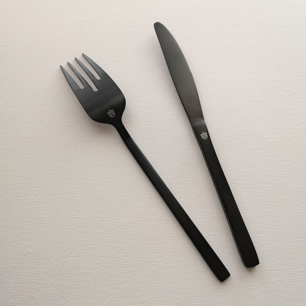 """Whitman"" Black Steel Starter Knife & Fork Cutlery Set uk"