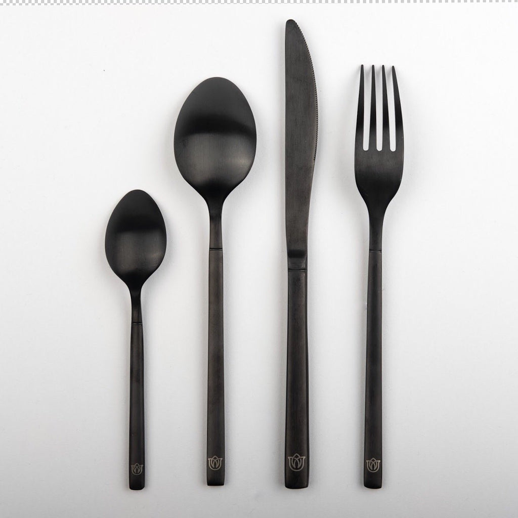 """Buckingham"" matte black cutlery Rose Metallics"