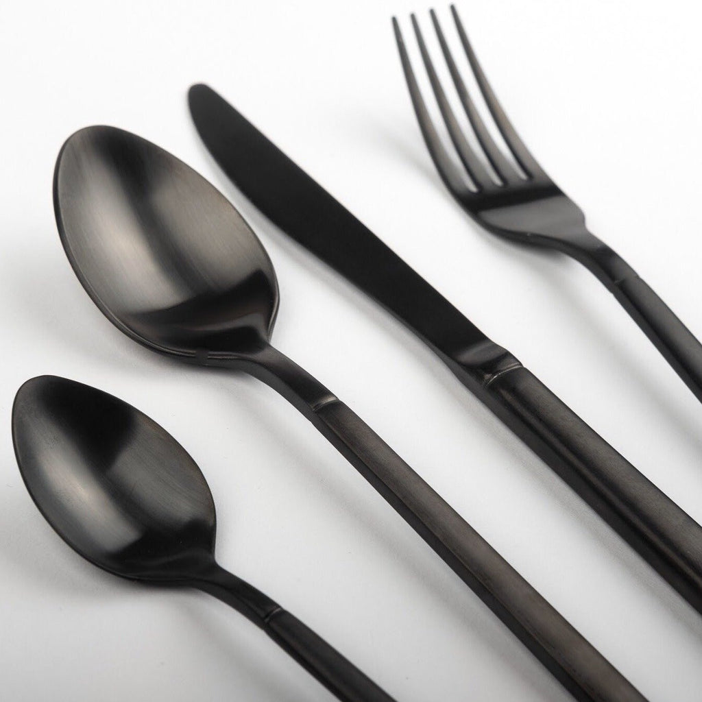 """Buckingham"" Matte Black Cutlery"