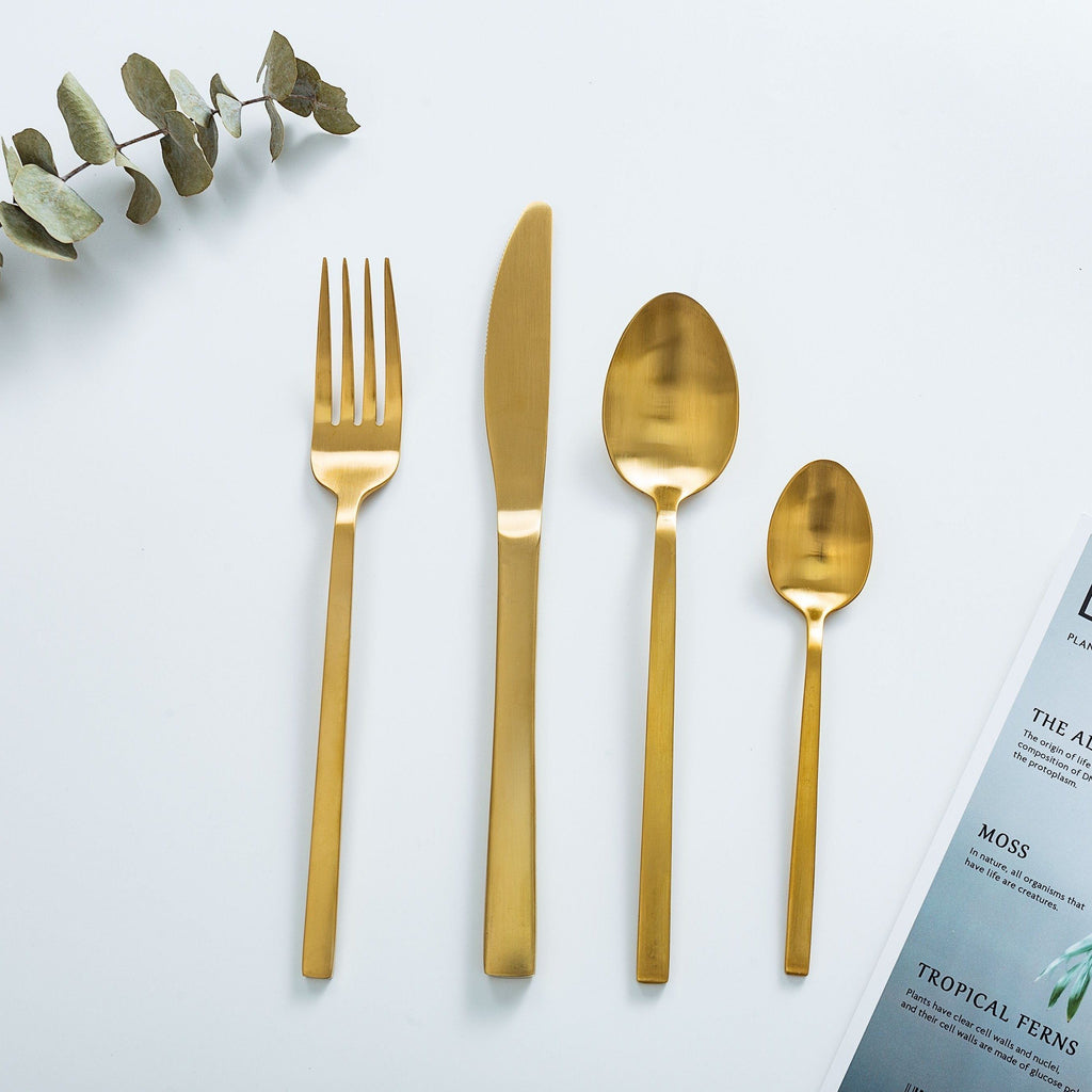 """Whitman"" Matte Gold Cutlery Set"