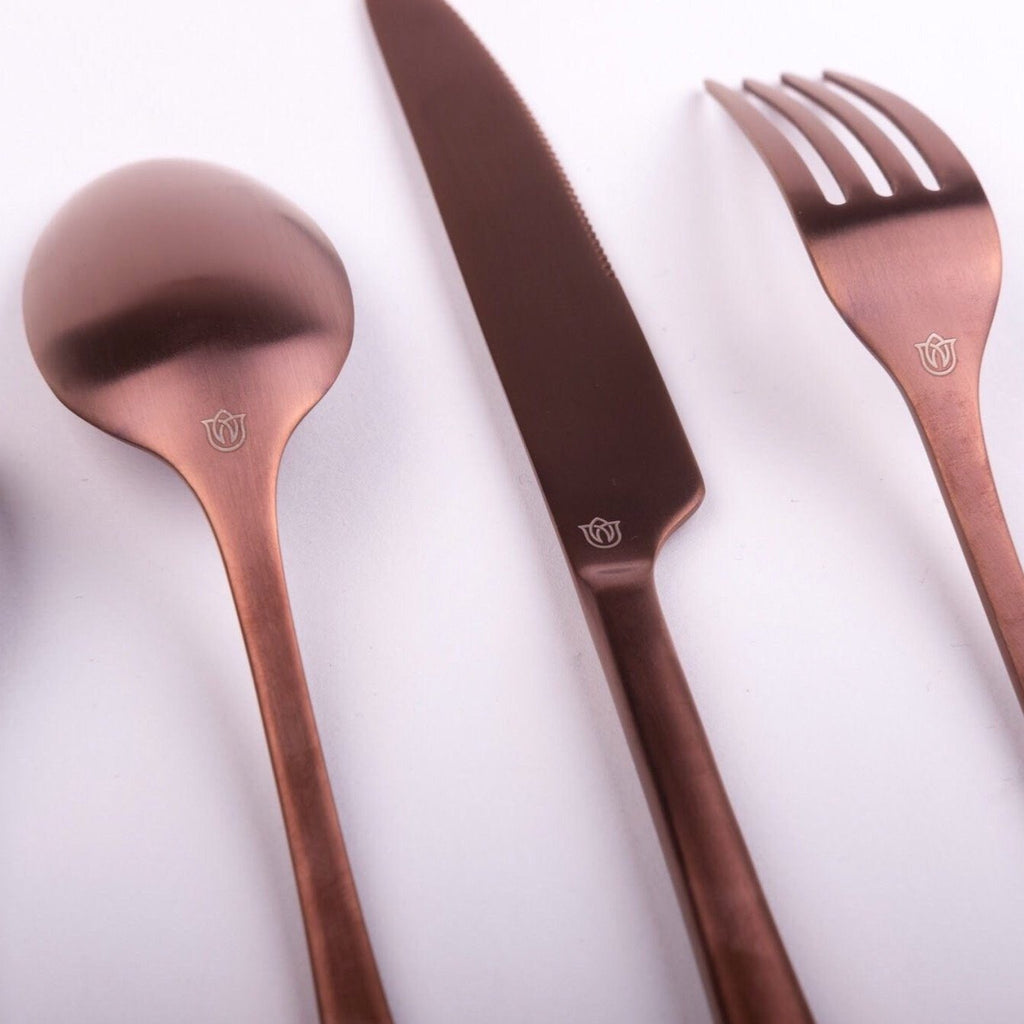 """Mayhew"" Matte Rose Gold Cutlery Set uk"