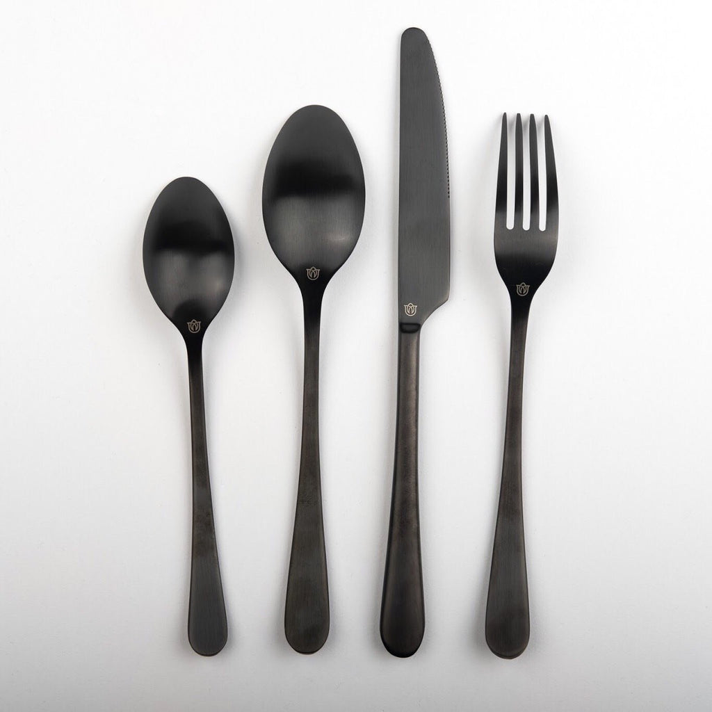 """Mayhew"" Black Cutlery Set Rose Metallics"