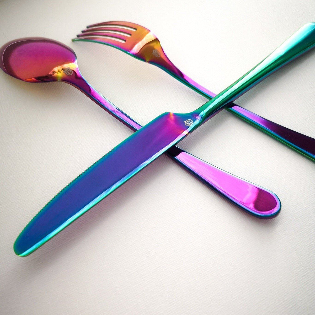 """Mayhew"" holographic cutlery set Rose Metallics"