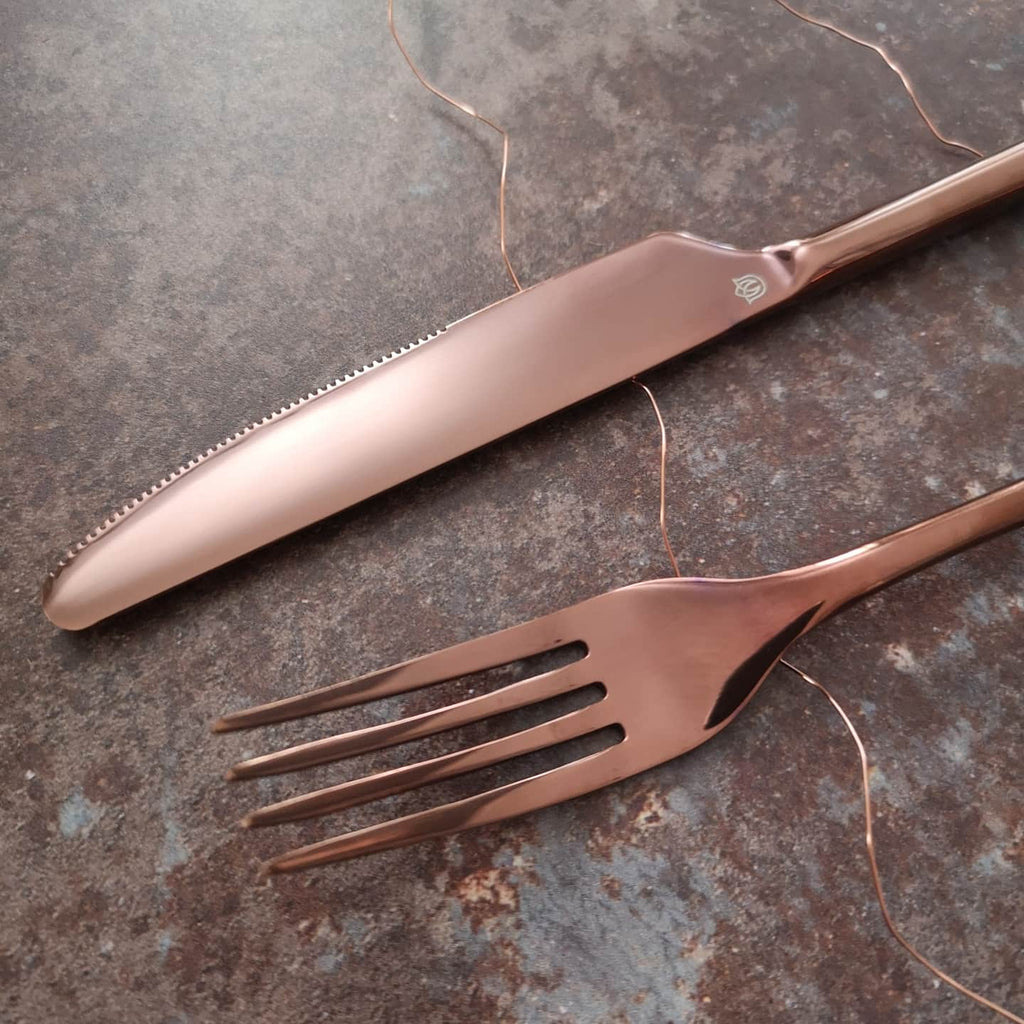rose gold cutlery knife fork