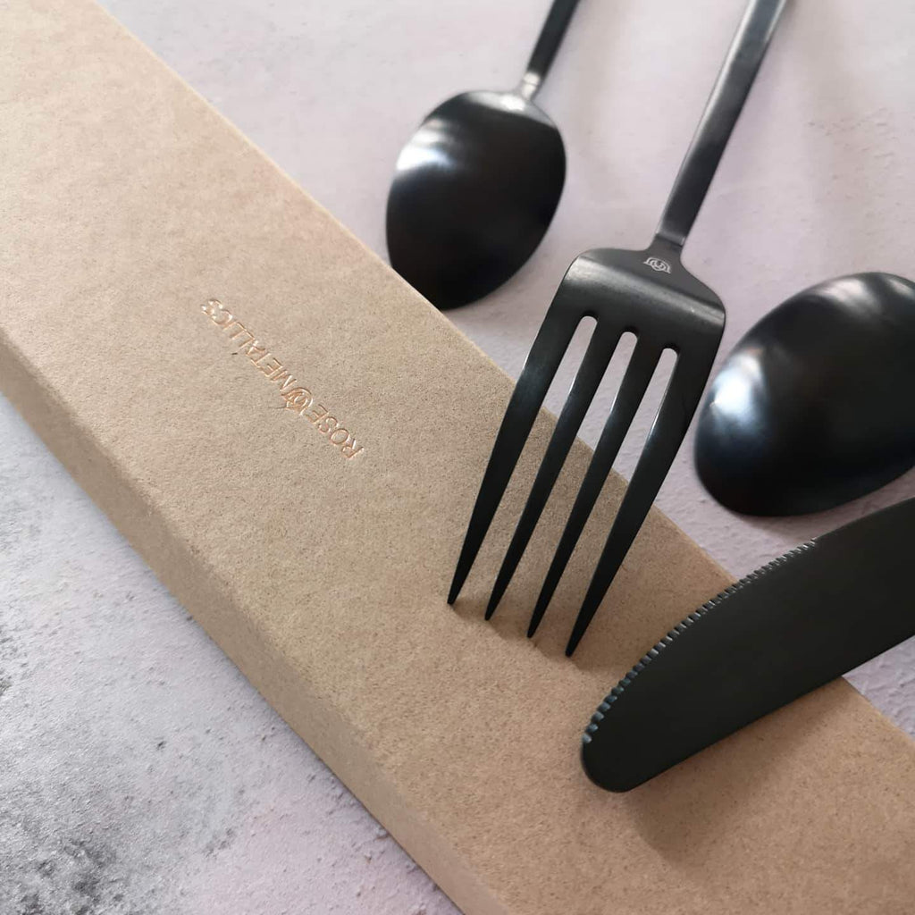 """Whitman"" Black Steel Cutlery Rose Metallics"