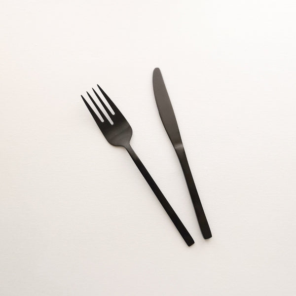 """Whitman"" Black Steel Starter Knife & Fork Cutlery Set Rose Metallics"