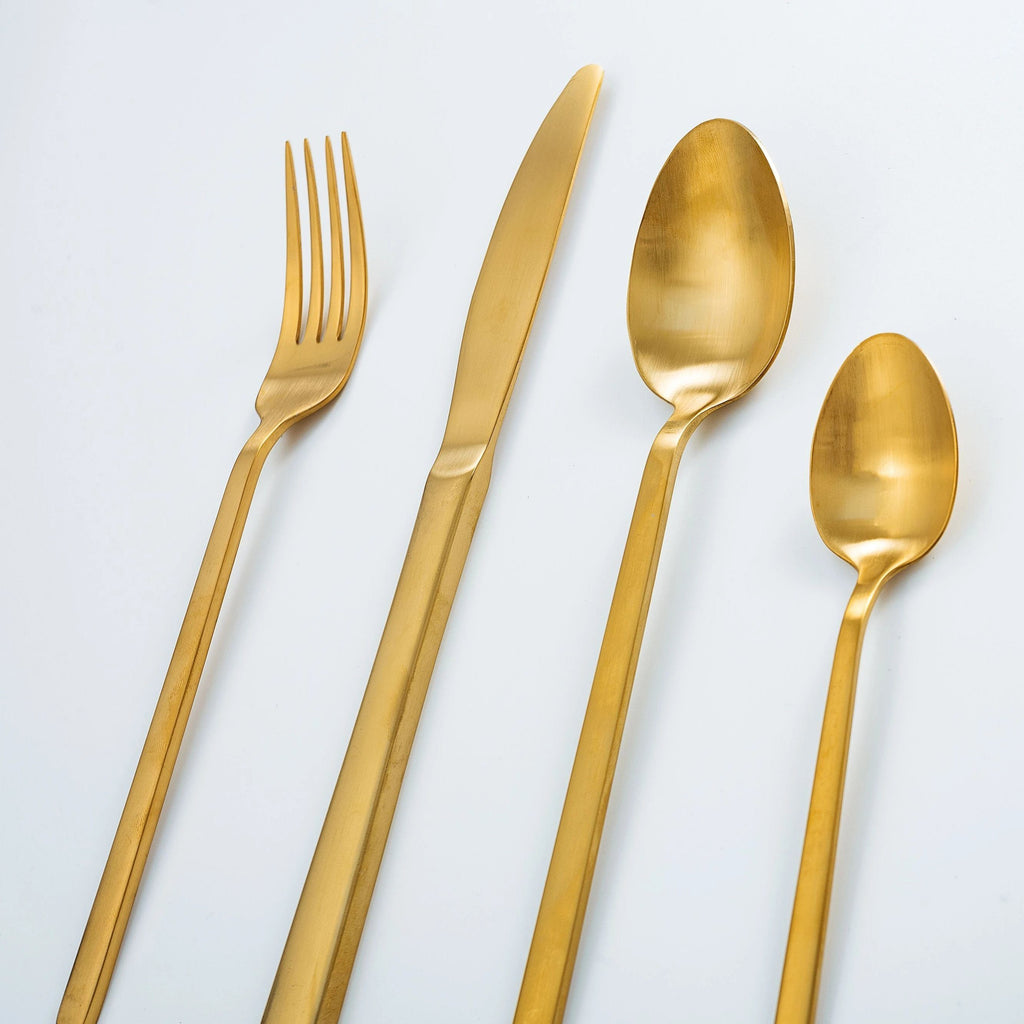 """Whitman"" Matte Gold Cutlery Set Rose Metallics"