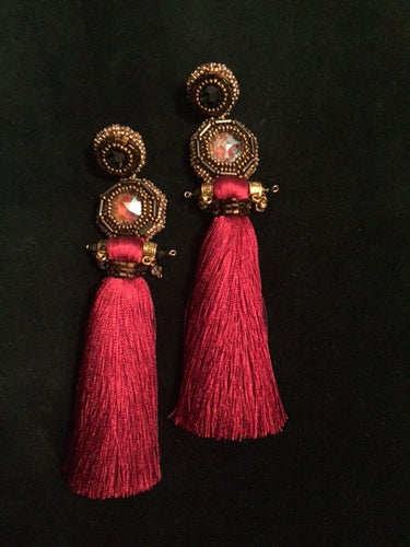 Double Swarovski Ruby Silk Tassel
