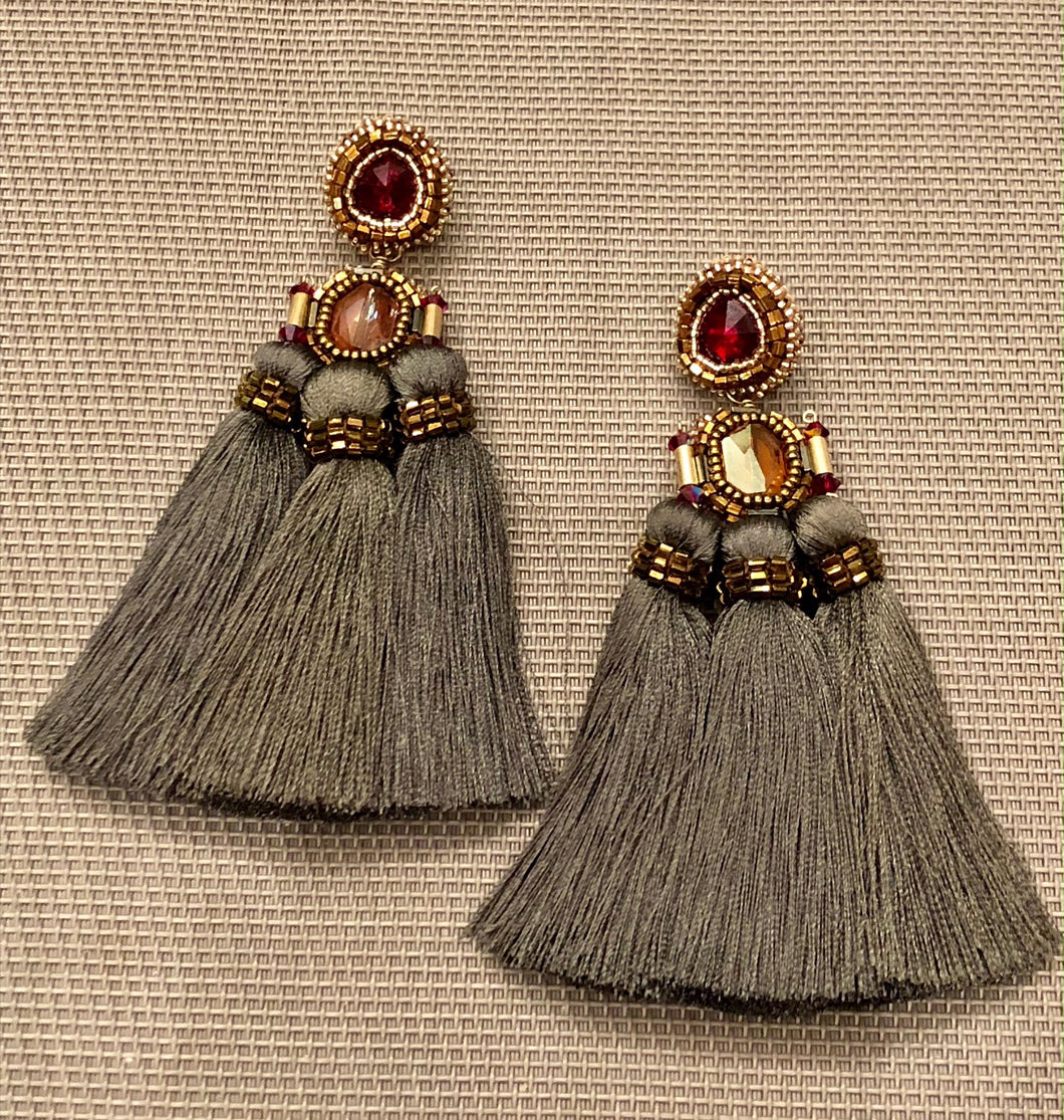 Ruby Crystal and Grey Tri Tassel Pierced Earring