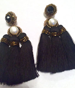 Elegant Fresh Water Pearl 3 black silk tassel earrings