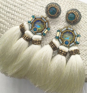 Swarovski Aqua crystal and White Silk 3 tassel