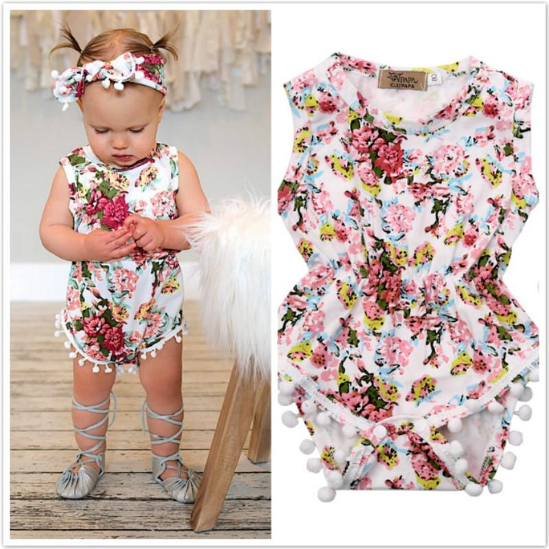 ca2ac4f4fd7e1 Floral Newborn Infant Baby Girls Rompers Jumpsuit Sunsuit Printed Tassel  Baby Girls Clothes