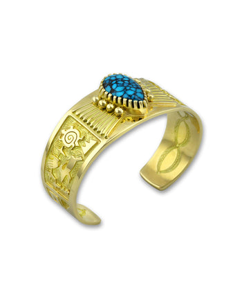Arland Ben 18K Gold And Indian Mountain Turquoise Cuff