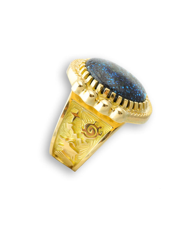 A side profile of a gold ring made by Arland Ben Native American Jewelry