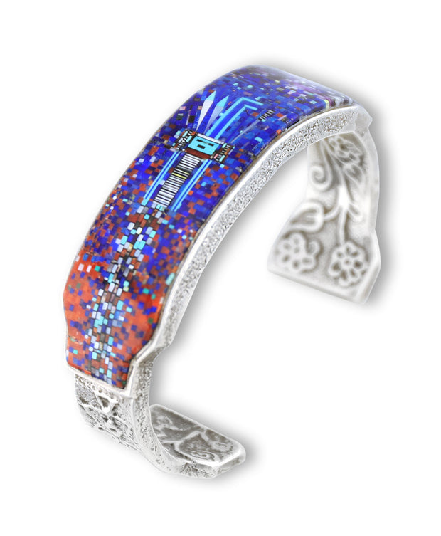 A lapis inlay bracelet with a cool design Clark and Irene Native American Jewelry Santa Fe.