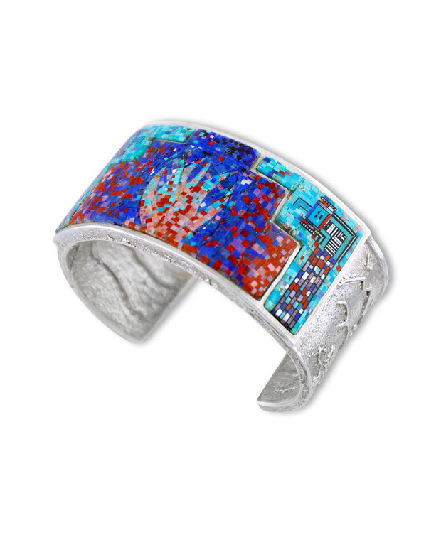 A turquoise inlay cuff by Carl and Irene Clark Native American Jewelry
