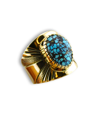 A gold ring made by Leonard Nez Santa Fe Native American Jewelry.