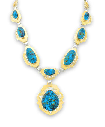 Dina Huntinghorse Santa Fe Native American Jewelry 14kt Gold and Silver Necklace with Turquoise