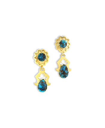 Dina Huntinghorse Santa Fe Native American Jewelry 14kt Gold Earrings with Red Mountain Turquoise