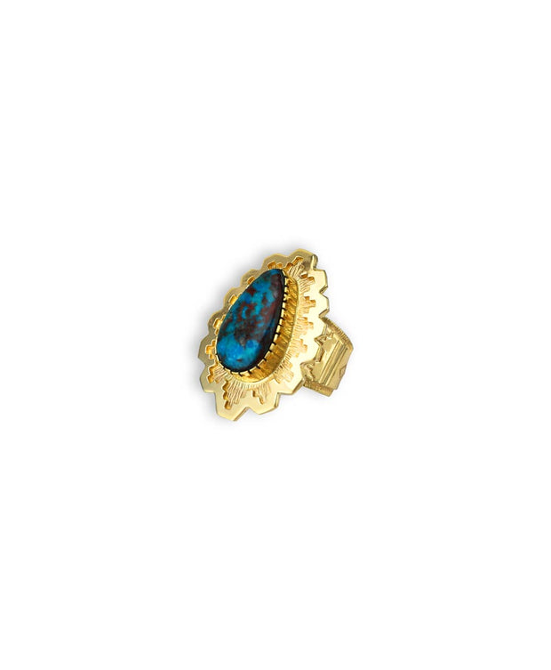 Dina Huntinghorse Santa Fe Native American Jewelry 14kt Gold ring with Red Mountain Turquoise