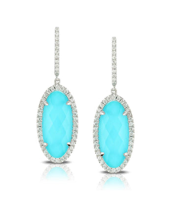 Doves Saint Barths Blue Turquoise and White Topaz Earrings