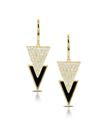 Doves Gatsby Black Onyx and Diamond Triangle Earrings