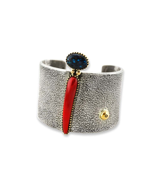 Edison Cummings Silver Cuff With Gold Accents, Red Coral, and Turquoise