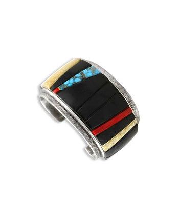 Edison Cummings Silver Ebony, Turquoise, Red Coral and Fossilized Mammoth Bone Cuff