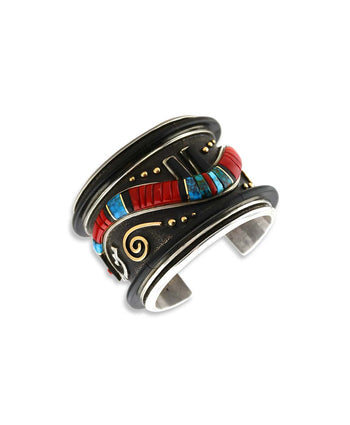 Edison Cummings Silver and Gold Cuff With Coral, Turquoise, and Ebony