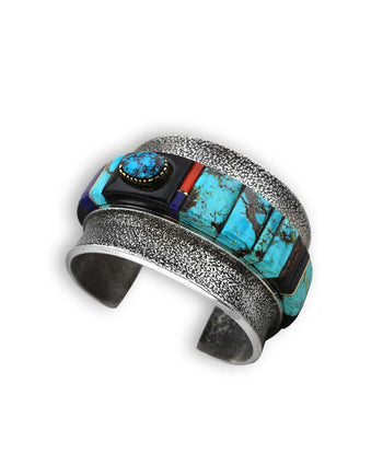 Edison Cummings Sterling Silver Turquoise Multi-Stone Cuff