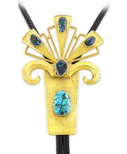 Michael Roanhorse 18K Gold Modern Bolo With Lander and Candelaria Turquoise