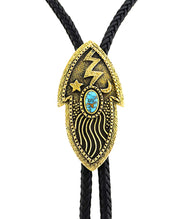 Monty Claw 18K Gold Bolo Tie With Turquoise Center
