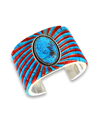 Earl Plummer Santa Fe Native American Jewelry Sterling Silver turquoise and coral cuff.