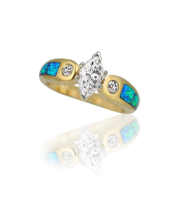 Kenny's 14K Opal Inlay Wedding Ring With Center Marquise Diamond