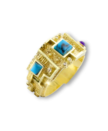 A gold mosaic ring made by Ric Charlie Santa Fe Native American Jewelry