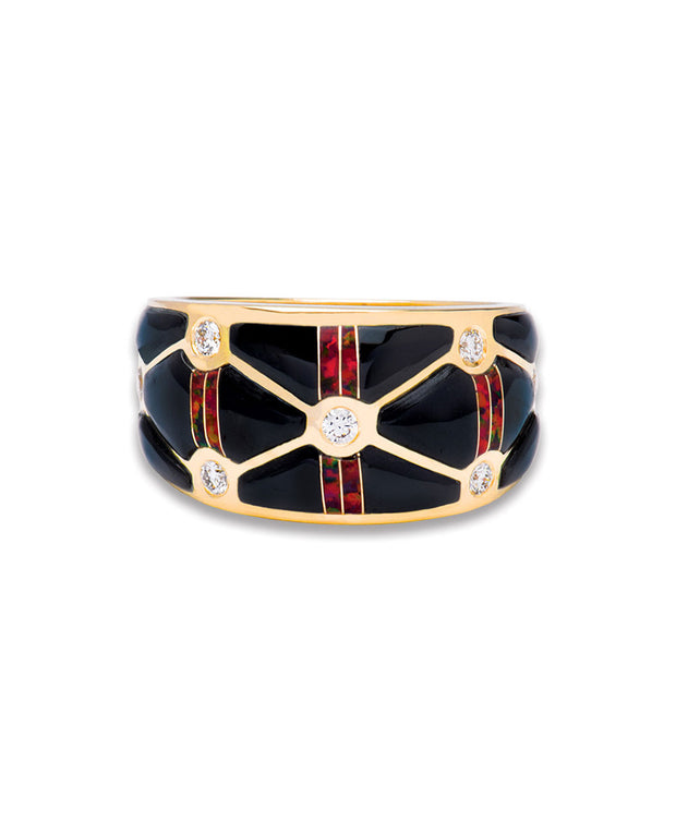Santa Fe Native American Jewelry Black jade and opal ring with diamonds 14k Gold.