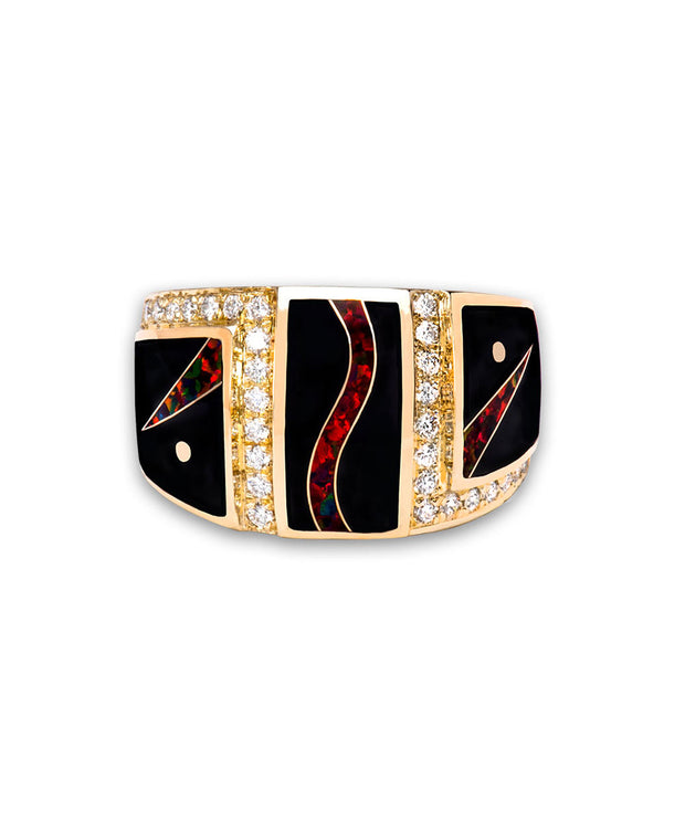 Santa Fe Native American Jewelry Black Jade Opal Inlay with 14K gold.